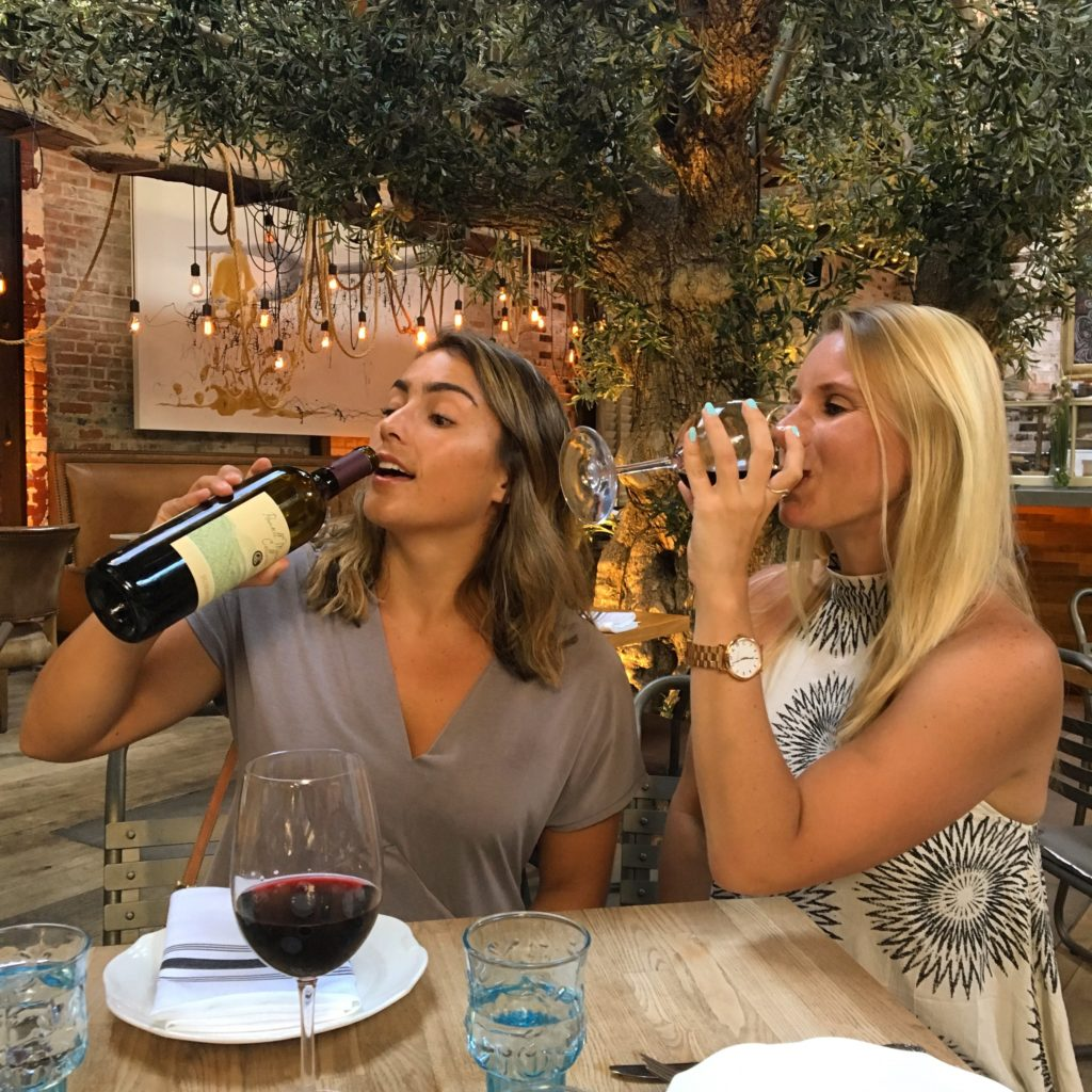 Girls drinking wine in San Diego