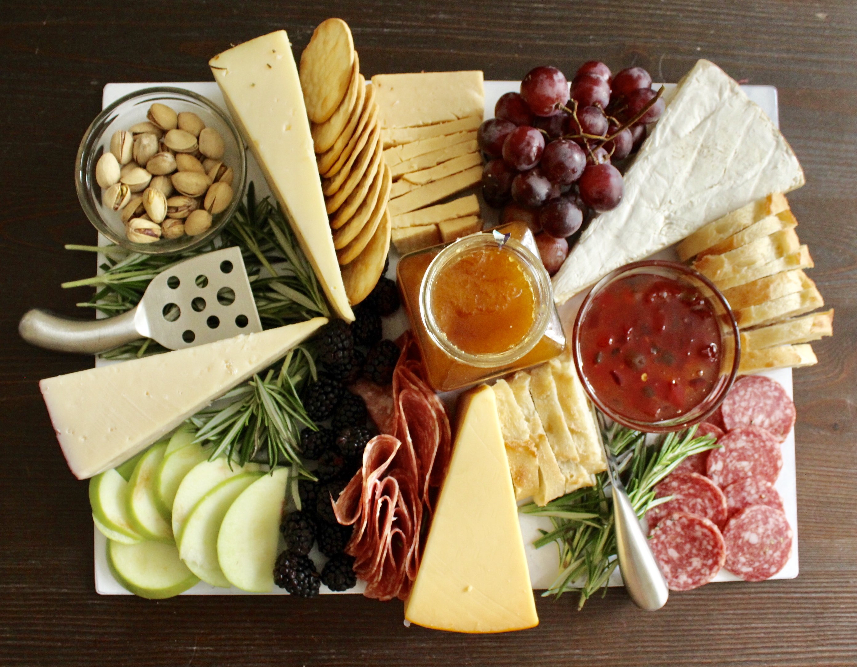 Up close of the perfect cheese board