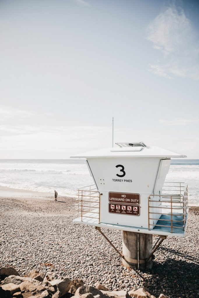 A lifeguard station on the beach in Del Mar, Torrey Pines in San Diego, CA
