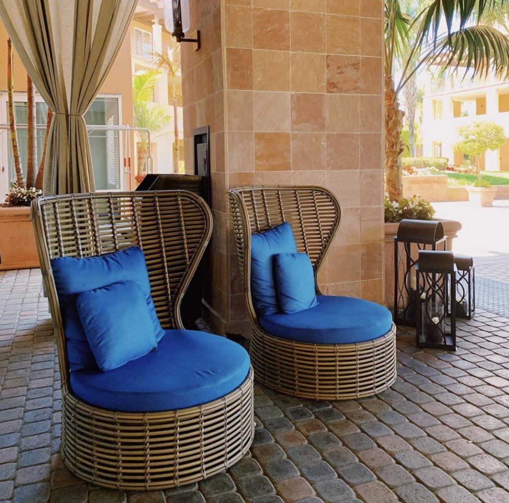 The hotel chairs outside The Cassara Carlsbad