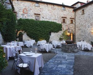 Tuscany Italy Patio set up for dinner