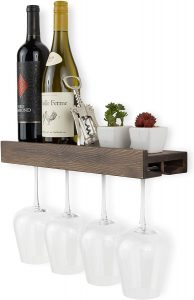 Mounted Wood Wine Bottle and Wine Glass Holder