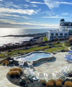 The pool and ocean view in Maine